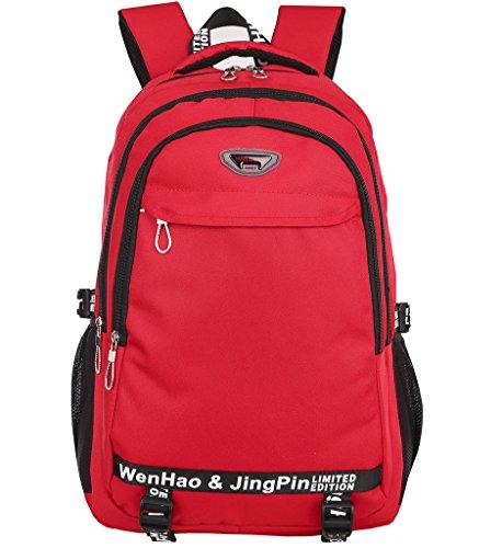 Super Modern Wander-Rucksack, unisex, Wasserdicht, aus Nylon, Sport-Rucksack, Laptop-Tasche Größe L rot