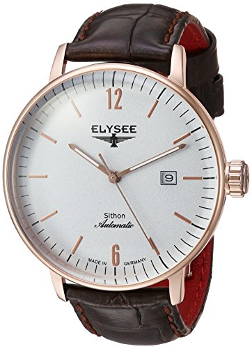 Elysee Men's Analog Automatic-self-Wind Watch with Leather-Calfskin Strap 13282