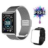 Fitness socken Pulsmesser Wasserdicht IP67 Fitness Tracker Farbbildschirm mit GPS Aktivitätstracker Pulsuhren Smartwatch Schrittzähler Kompatibel mit iOS und Android + 1 Replaceable Watch Strap