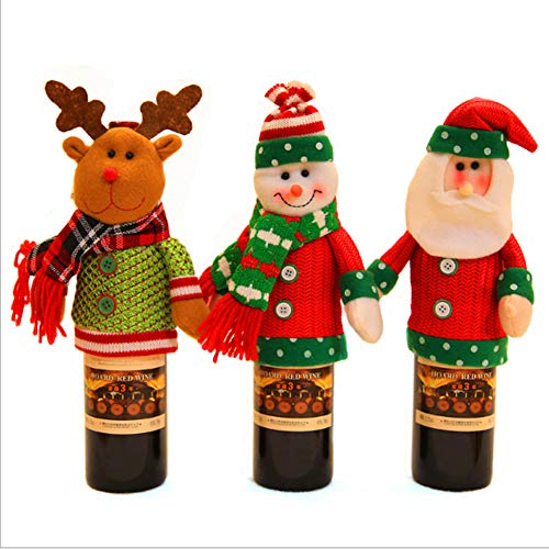 Belldan handgemachte Weinflasche hässliche Weihnachten Pullover Rotweinflaschen-Sets Ornamente