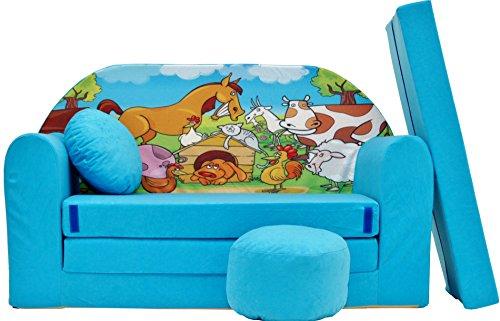 PRO COSMO B5Kinder Sofa Bett mit Puff/Fußbank/Kissen, Stoff, rot, 168x 98x 60cm