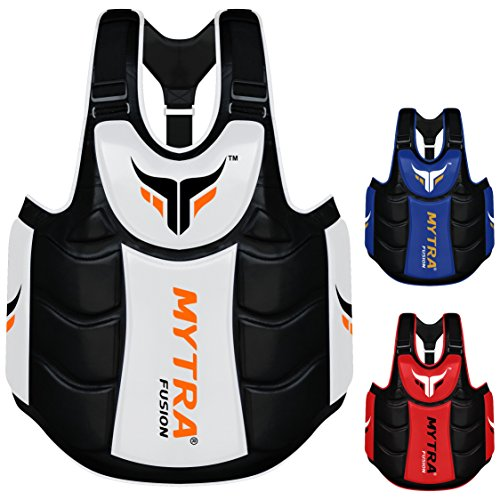 Mytra Fusion Chest & Belly Protector Body Shield Body Armor Body Pad Body Protector Chest Ribs and Belly Protector for Boxing MMA Muay Thai Fitness Gym Workout (White Black)