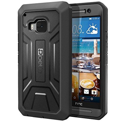 Funda HTC One M9 - Poetic [Serie Revolución] [Pesada] [Doble Capa] Funda de Protección Hibrida Completa con Protector de Pantalla Incorporado para de HTC One M9 Negro (3 Años Garantía del Fabricante
