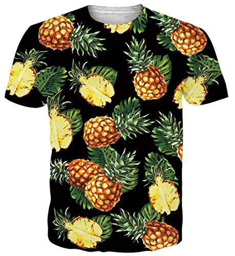 ALISISTER Herren Damen Lustige Ananas T-Shirt 3D Gedruckt Hawaiian Beach Tshirts Neuheit Sommer Crewneck Kurzarm Tee Tops Outfits M