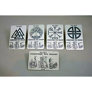 Viking Metal Lucky Symbols WALLET Inserts, 5 PCS FULL SET Personalised > Your Name or Message in RUNE Script, Odin, Thor, Freya. Elder Futhark RUNES, Valknut, Vegvisir Compass, etc