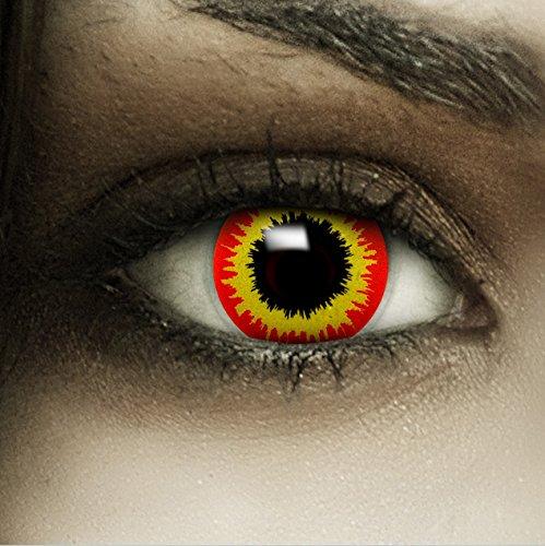 Farbige rot gelbe Kontaktlinsen Ork + Kunstblut Kapseln + Behälter von FXCONTACTS®, weich, ohne Stärke als 2er Pack - perfekt zu Halloween, Karneval, Fasching oder Fasnacht
