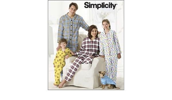 Simplicity Schnittmuster 7378 A Kinder & Erwachsenen Pyjama & Hund ...