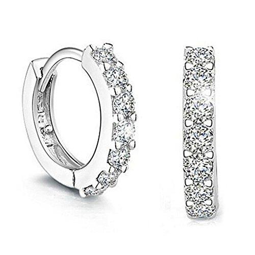 Orecchini donna, elegante 925 d'argento bravetzx cerchio diamante orecchini per donna
