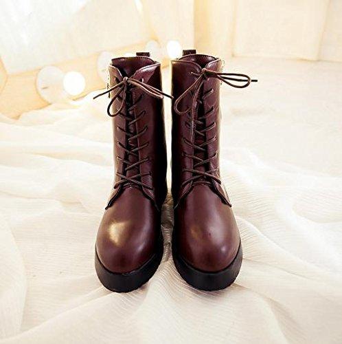 &ZHOU Bottes d'automne et d'hiver courtes bottes femmes adultes Martin bottes Chevalier bottes a5 Brown