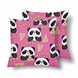 Lepilo Panda Pizza Black White Bear Throw Pillow Covers 18x18 Set of 2, Pillow Cushion Cases Pillowcase for Home Couch Sofa Bedding Decorative