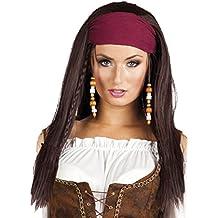 Piratenperücke Damen Piratenbraut Piratin Kostüm Zubehör Perücke mit Kopftuch