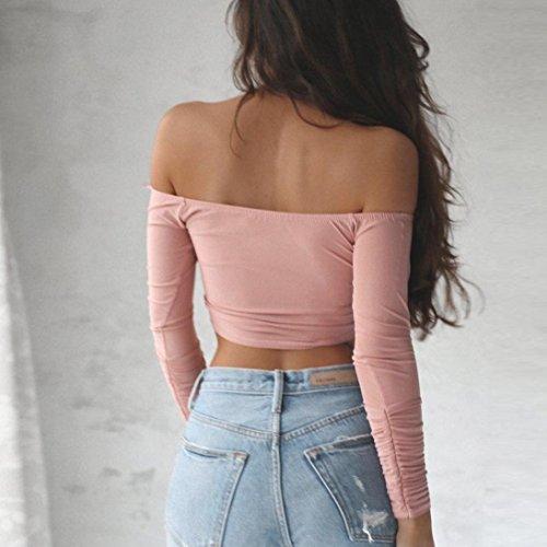 Bekleidung Longra Frauen beiläufig weg von der Schulter Oberseiten-Tops Langarm T-Shirt Bluse Pink