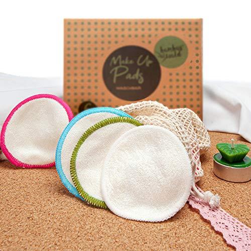 12er Pack ökologische Reinigungspads bzw. Abschminkpads aus Bambus | Kosmetikpads inkl. Tragetasche für Gesichtsreinigung, Make-Up Remover. Waschbare Reinigungstücher Abschminktücher
