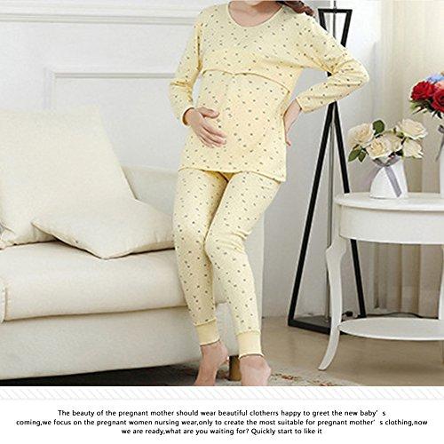 ebcdd0389 Samber Pijamas Mujer Embarazada Primavera Pijamas Puro Algodón para  Primavera Verano y Otoño Ropa de Dormitorio para Mujer de Maternidad