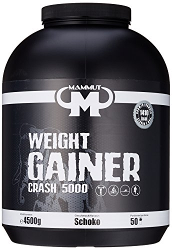 Mammut Weight Gainer Crash 5000 Schoko Kohlenhydrate Masseaufbau Kreatin, 4500 g Dose