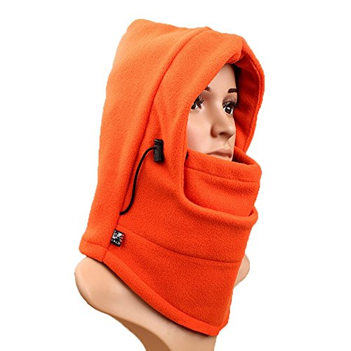 Nackenwärmer Ski Hat, richera doppelte Schichten thermische warme Fleece Sturmhaube dicker Kapuze Full Face Cover Maske Winter Wind Beweis Stopper Hat Nacken wärmer für Outdoors Snowboard Ski Motorrad + richera Schlüsselanhänger Orange orange (Kapuzen-fleece Orange)