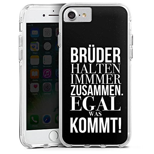 Apple iPhone 7 Bumper Hülle Bumper Case Glitzer Hülle Brother Bruder Amour Bumper Case transparent