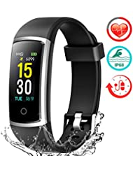 FITFORT Smart Fitness Tracker Watch - Heart Rate Blood Pressure Sleep Monitor with IP68 Waterproof, Calorie Counter Pedometer Watch for Women Men and Kids
