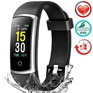 FITFORT Pulsera de Actividad Reloj Inteligente para Hombre y Mujer, IP68 Impermeable Reloj Deportivo con Rtmo Cardíaco, Presión Sanguínea, Sueño Monitor, Contador y Calorías para Android y iOS 10