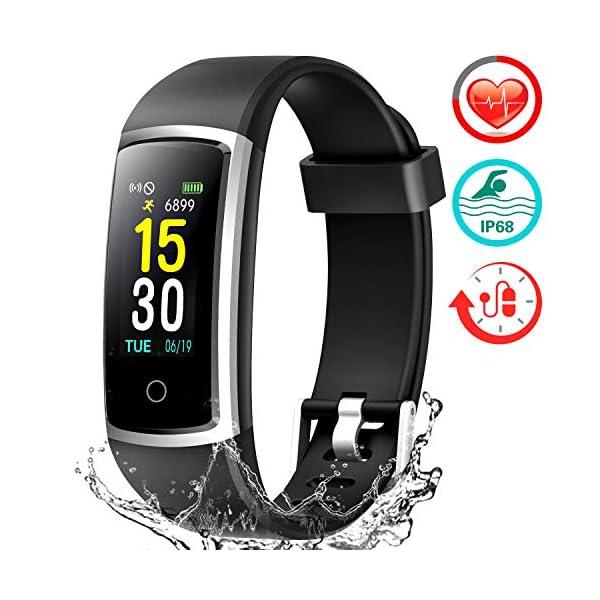 FITFORT Pulsera de Actividad Reloj Inteligente para Hombre y Mujer, IP68 Impermeable Reloj Deportivo con Rtmo Cardíaco, Presión Sanguínea, Sueño Monitor, Contador y Calorías para Android y iOS 1