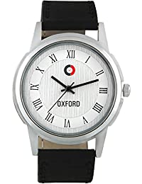 Oxford OX1507SL02 White Synthetic Leather Strap With White Dial Analog Watch For Men/Boys