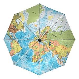 baihuishop mapa del mundo resistente al viento Golf Paraguas Auto abierto cerca de 3plegable resistente protección UV paraguas de viaje compacto ligero portátil fácil de llevar y antideslizante mango