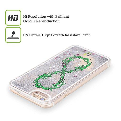 Head Case Designs Amore Infinity Collection Custodia Cover con Glitter Liquidi Argento per Apple iPhone 6 / 6s Ornato