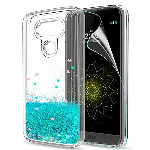 LeYi Hülle LG G5 Glitzer Handyhülle mit HD Folie Schutzfolie,Cover TPU Bumper Silikon Flüssigkeit Treibsand Clear Schutzhülle für Case LG G5 Handy Hüllen ZX Turquoise