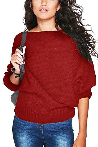 Yidarton Damen Pullover Oversized Rippe Knitted Batwing Baggy Jumper Top Strickjacken (M, Weinrot)