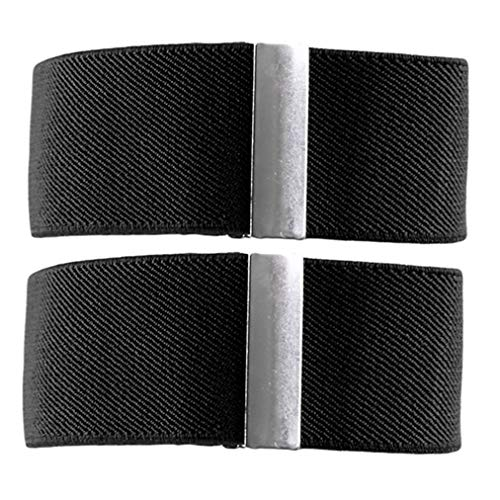 Sevenfly Männer Sleeve Garters Shirt Ärmel Halter Arm Bands Bräutigam Strumpfband Elastische Metall Armband Für Damen (Schwarz) (Shirt-ärmel-strumpfband)
