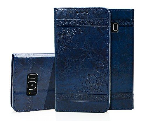Roreikes Samsung Galaxy S8 Hülle Flip Schutzhülle Zubehör Lederhülle mit Silikon Back Cover PU Leder Handytasche im Bookstyle Stand Das Prägemuster für Samsung Galaxy S8 (Blau)