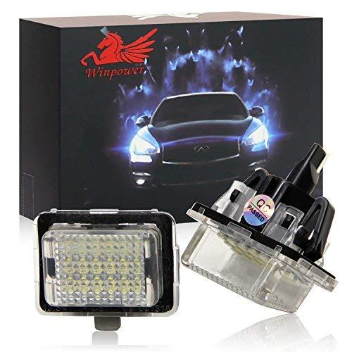 WinPower LED Kennzeichenbeleuchtung Glühbirnen Nummernschildbeleuchtung Lampe 3582 SMD mit CanBus Fehlerfrei 6000K Xenon kaltweiß für 2007-2011 W204 (5 Türen)/W212/W216/W221/W207 usw, 2 Stücke