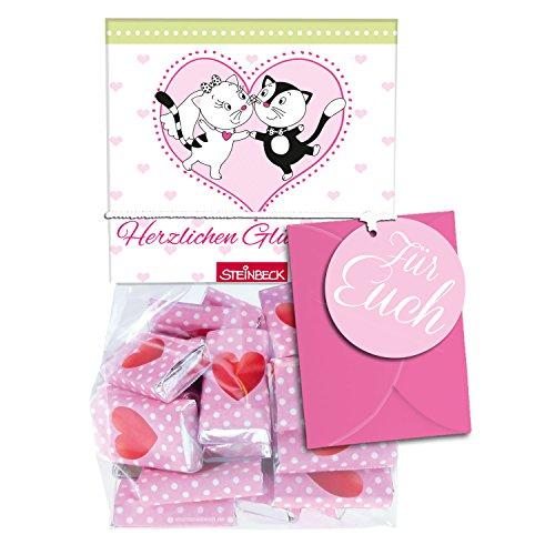 Geschenk HOCHZEIT Geldgeschenk 35er Tütchen Mini Schokolade 3g STEINBECK Vollmilch Schokolade Tafel Heiraten Mitgebsel Herz rosa rot weiß Brautpaar