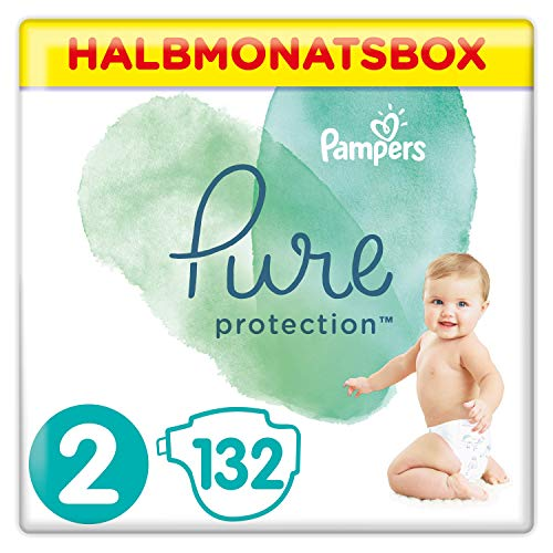 Pampers Pure Protection Windeln, Gr. 2, 4kg-8kg, Halbmonatsbox (1 x 132 Windeln)