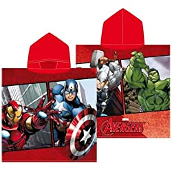 Textil Tarragó Avengers Toalla con Capucha, Algodón, Rojo, 30x30x3 cm