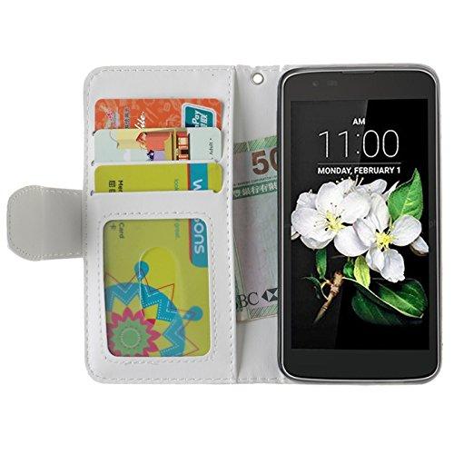 YHUISEN Geprägte Maple Leaf Design PU-Leder Flip Wallet Stand Case mit Kartensteckplatz für LG K7 ( Color : Rose ) White