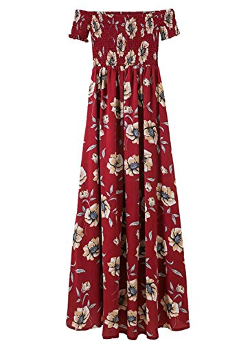 Azbro Women's off Shoulder Short Sleeve Floral Printed High Low Dress Burgundy