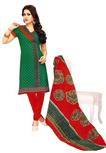 Salwar Studio Green & Red Cotton unstitched churidar kameez with dupatta-MCM-4563