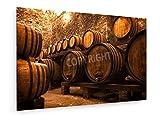 Elena Shchipkova - Keller mit Fässern für die Lagerung von Wein, Italien - 120x80 cm - Textil-Leinwandbild auf Keilrahmen - Wand-Bild - Kunst, Gemälde, Foto, Bild auf Leinwand - Kochen & Essen