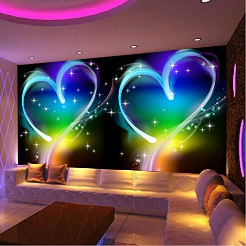 Hyiiw Benutzerdefinierte 3D Wandbild Tapete Modernes Design Personas Liebe Herz Ktv Bar Wohnzimmer Sofa Hintergrund Dekor Tapete Für Wände-280X200Cm