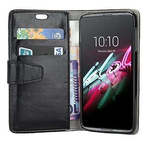Housse Alcatel Onetouch IDOL 3 5.5 pouces, EnGive Flip Housse Étui Coque de protection en Luxe cuir pour Alcatel Onetouch IDOL 3 Smartphone 5.5 pouces (noir 3)