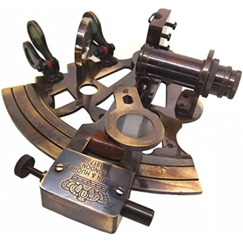 Antiquated Brass 5 Victorian Style Nautical Sextant in Glass-Topped Rosewood Display Case by NAUTICALMART