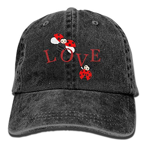 Miedhki The Eternal Love Between Ladybugs Unisex Cotton Denim Baseball Deckel Adjustable Strap Low Profile Plain Hats Black Multicolor90 -