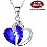 GALAXINA PENDANT WITH PREMIUM HEART SHAPED ROYAL BLUE CRYSTAL STONE - THE MOST LOVABLE, CHERISHED & A LIFE TIME VALENTINE GIFT TO ❤SOMEONE SPECIAL❤ EXCLUSIVELY ONLY FOR PROFOUND & PASSIONATE LOVE. LADY HAWK DESIGNER SERIES 2018.