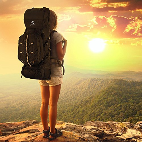Yukatana Almer Zaino da Trekking Per escursioni con cinghie al petto e all'addome regolabili (80 litri, 40 x 80 x 35 cm, Daypack da 10 litri, copertura impermeabile) Nero Nero