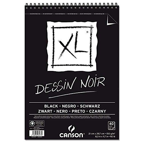 Canson 400039086 XL Dessin Noir Skizzenblock, leicht gekörnt 150 g/qm, 40 Blatt pro Block