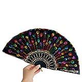 Morran Abanico Plegable Hecho de Mano Estilo Clasico Español Flamenco Baile Negro Distintos para Regalo Recuerdo Mujer Invitados Detalle Boda Fiesta Baile Arte Material Plástico Tela