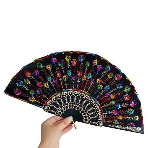 Ziyou Spanische Spitze Seide Falten Hand Tanz Fan Blumenmuster für Party Hochzeit(24.5cm, C) (Spanisch Kostüme Für Tanz)