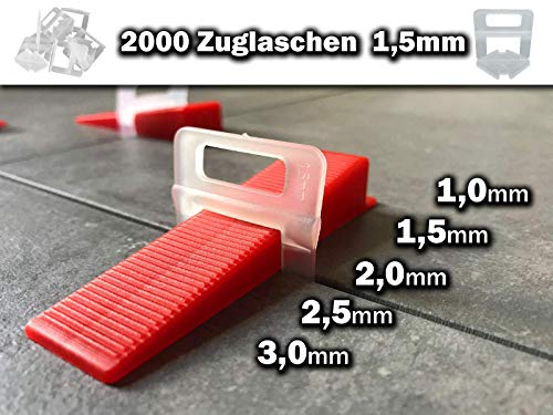 2000 Zuglaschen 1,5mm Das GÜNSTIGE Fliesen Nivelliersystem Zange Keile Laschen 1mm 1,5mm 2mm 2,5mm 3mm Stückzahl frei wählbar Laschen Verlegehilfe für Fliesen Höhe 3-12 mm (2000, 1,5mm)