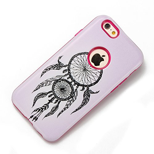 iphone 6 Hülle Hippie, iphone 6s Case Funny, E-Lush TPU Silikon Handy Case Hülle für iphone 6 6s, Hippie Comic Auge Joker Emoji Design Muster Crystal Stoßdämpfend Durchsichtig Rückschale Ultra Slim Th Campanula rosa
